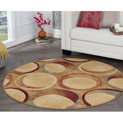 Kapp Contemporary Circles Beige Area Rug Rug Size: Round 6'
