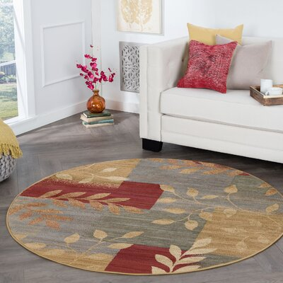 Kappel Transitional Abstract Beige Area Rug Rug Size: Round 6