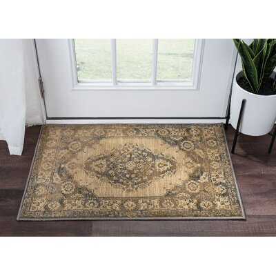 Falken Transitional Border Ivory Area Rug Rug Size: Runner 2 x 8