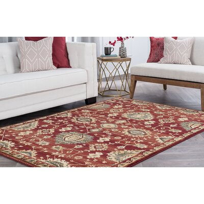 Mizer Transitional Border Red Area Rug Rug Size: Runner 2 x 8