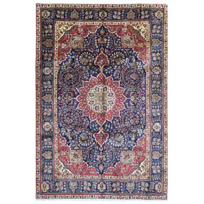 One-of-a-Kind Breonna Semi Antique Oriental Hand-Knotted Wool Navy/Red Area Rug