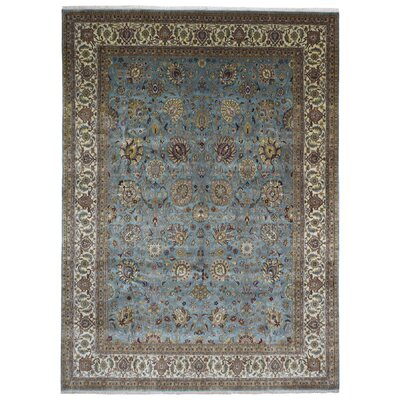 One-of-a-Kind Exmore Oriental Hand-Knotted Wool Blue/Yellow Area Rug