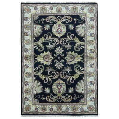 One-of-a-Kind Balic Oriental Hand-Knotted Wool Black/Beige Area Rug