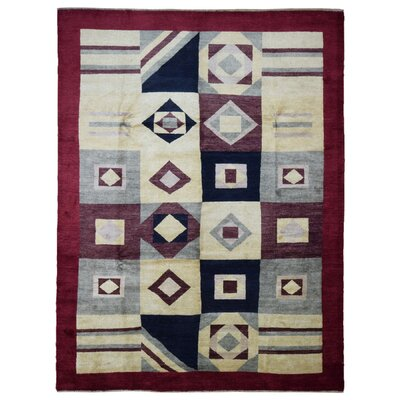 One-of-a-Kind Ricard Hand-Knotted Wool Beige/Red Area Rug