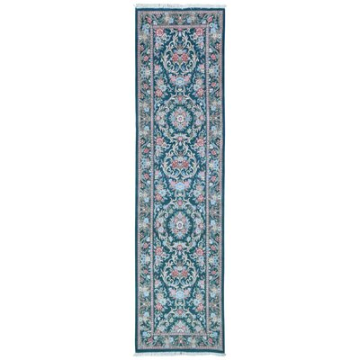 One-of-a-Kind Exmore Hand-Knotted Wool Green/Blue Area Rug