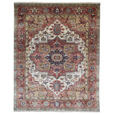 One-of-a-Kind Roselle Oriental Hand-Knotted Wool Red/White Area Rug