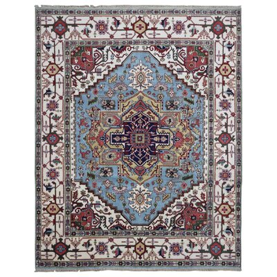 One-of-a-Kind Roselle Oriental Hand-Knotted Wool Blue/White Area Rug