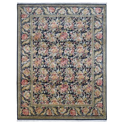 One-of-a-Kind Fausto Garden Hand-Knotted Wool Black/Peach Area Rug
