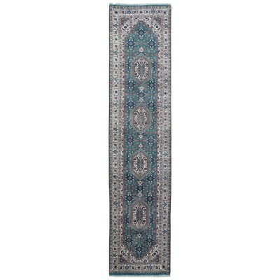 One-of-a-Kind Faustine Oriental Hand-Knotted Wool Green/Blue Area Rug