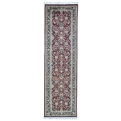 One-of-a-Kind Exmore Oriental Hand-Knotted Wool Red/Black Area Rug