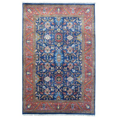One-of-a-Kind Molter Oriental Hand-Knotted Wool Blue/Red Area Rug
