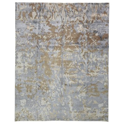 One-of-a-Kind Letterly Modern Oriental Hand-Knotted Wool Gray Area Rug