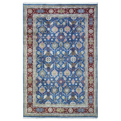 One-of-a-Kind Balic Oriental Hand-Knotted Wool Blue/Red Area Rug