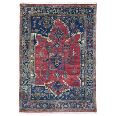One-of-a-Kind Monaghan Oriental Hand-Knotted Wool Red/Blue Area Rug