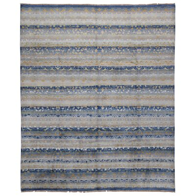 One-of-a-Kind Montagna Modern Oriental Hand-Knotted Wool Beige/Blue Area Rug