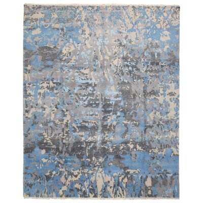 One-of-a-Kind Letterly Modern Oriental Hand-Knotted Wool Blue/Gray Area Rug