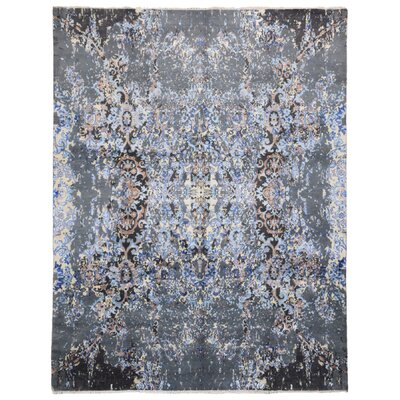 One-of-a-Kind Letterly Oriental Hand-Knotted Wool Blue Area Rug