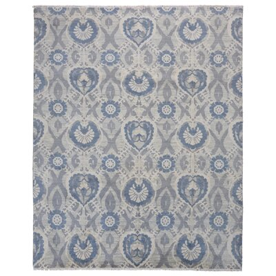 One-of-a-Kind Ezine Oushak Hand-Knotted Wool Blue Area Rug