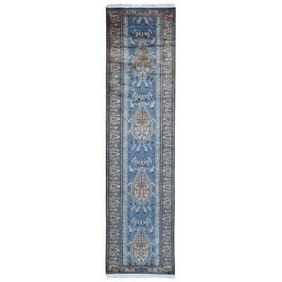 One-of-a-Kind Moloney Oriental Hand-Knotted Wool Blue Area Rug