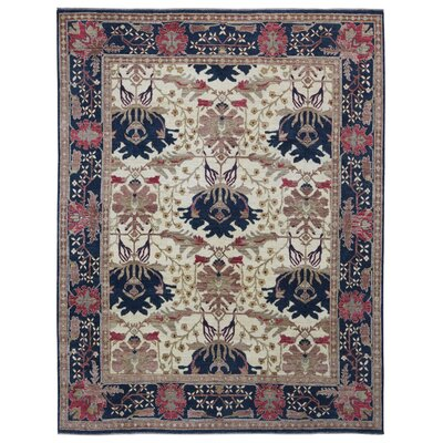 One-of-a-Kind Monaghan Oriental Hand-Knotted Wool Beige/Black Area Rug