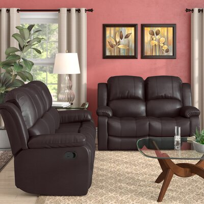 Maumee 2 Piece Leather Living Room Set Upholstery: Brown