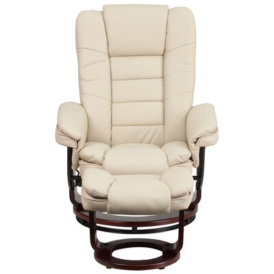 Albury Manual Swivel Recliner With Ottoman Upholstery: Beige