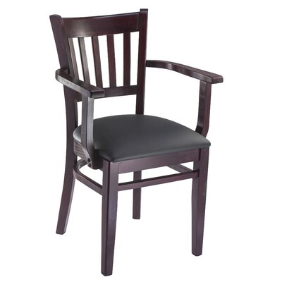 Jeske Slatback Arm Chair Frame Color: Dark Mahogany, Seat Color: Gray