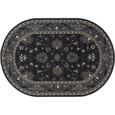 Rene Simply Open Gray Area Rug Rug Size: Oval 53 x 81