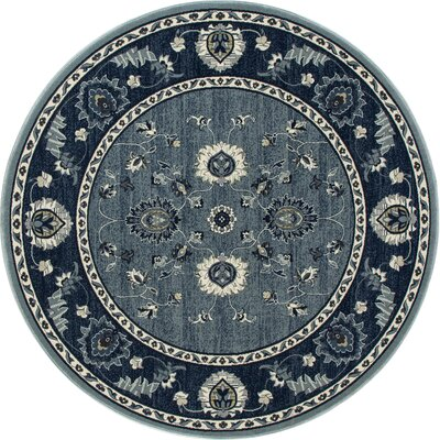 Renick Simply Open Medium Blue Area Rug Rug Size: Round 53