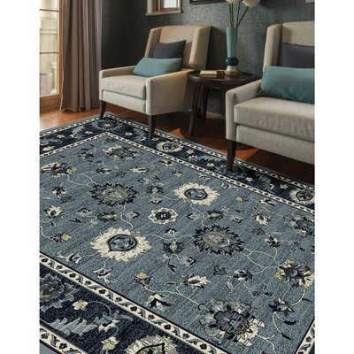 Renick Simply Open Medium Blue Area Rug Rug Size: Rectangle 9'2