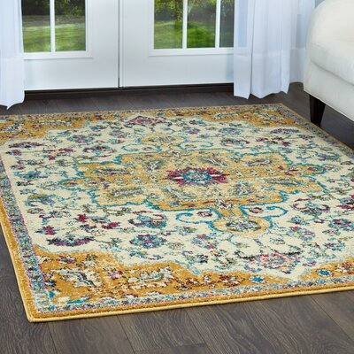 Moller Merida Ivory/Yellow Area Rug Rug Size: Rectangle 53 x 72