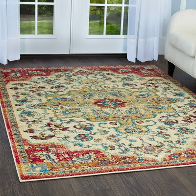Moller Merida Ivory/Fuchsia Area Rug Rug Size: Rectangle 53 x 72