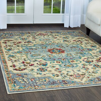 Moller Merida Ivory/Gray Area Rug Rug Size: Rectangle 53 x 72