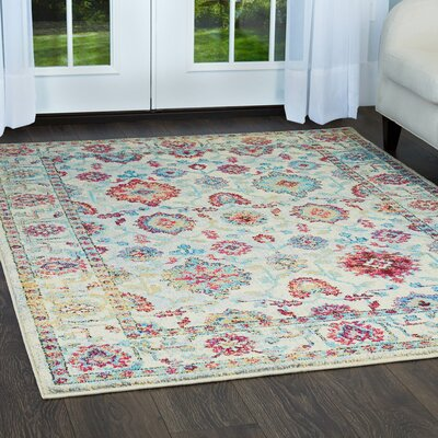 Moller Ronda Ivory/Red Area Rug Rug Size: Rectangle 53 x 72
