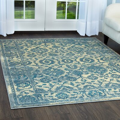 Moller Ronda Ivory/Blue Area Rug Rug Size: Rectangle 1'8