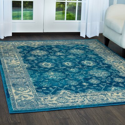 Moller Ronda Blue/Ivory Area Rug Rug Size: Rectangle 36 x 53