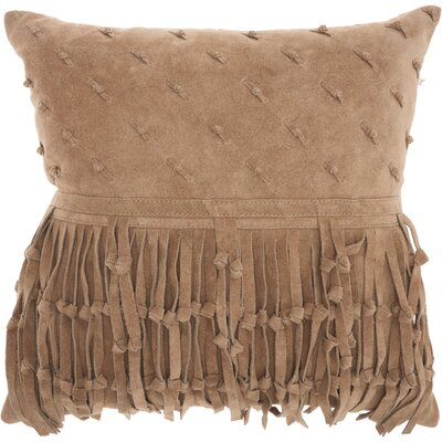 Bill Leather Throw Pillow Color: Beige