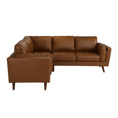 Mid Century Leather Sectional Upholstery: Camel