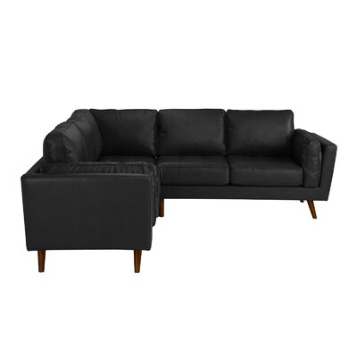 Mid Century Leather Sectional Upholstery: Black