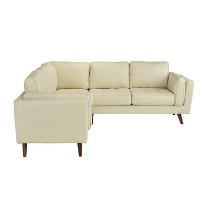 Mid Century Leather Sectional Upholstery: Beige