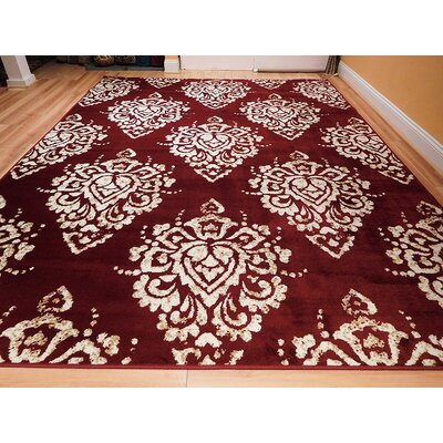 Bertina One-of-a-Kind Wool Red/White Area Rug