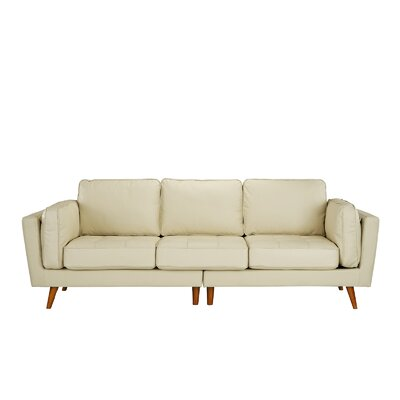 Mid Century Leather Sofa Upholstery: Beige