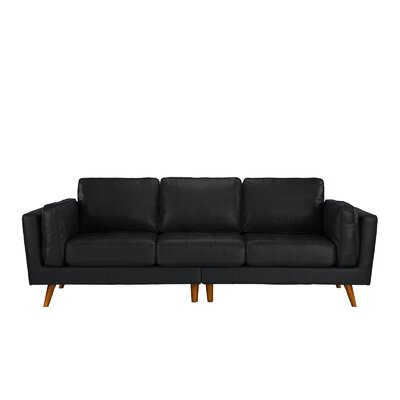 Mid Century Leather Sofa Upholstery: Black