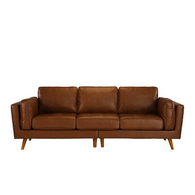 Mid Century Leather Sofa Upholstery: Camel