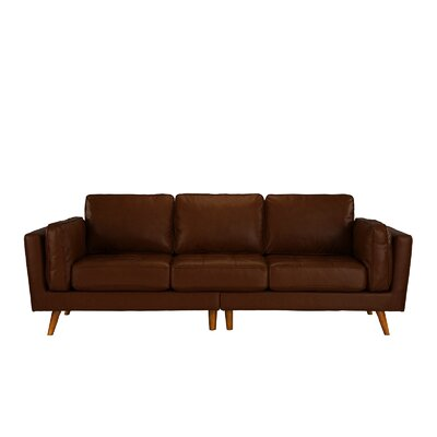 Mid Century Leather Sofa Upholstery: Dark Brown