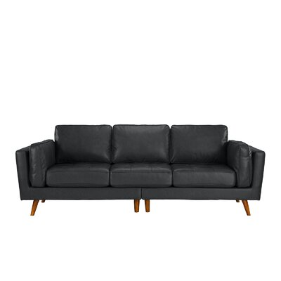 Mid Century Leather Sofa Upholstery: Gray
