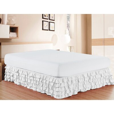 Letson Luxurious Premium Quality 1500 Thread Count Bed Skirt Size: Twin, Color: White