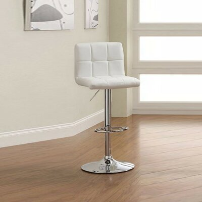 Orlandi Adjustable Height Swivel Bar Stool Color: White