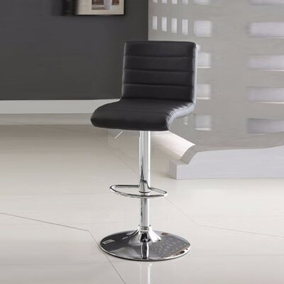 Ashar Armless Adjustable Height Swivel Bar Stool Upholstery: Black
