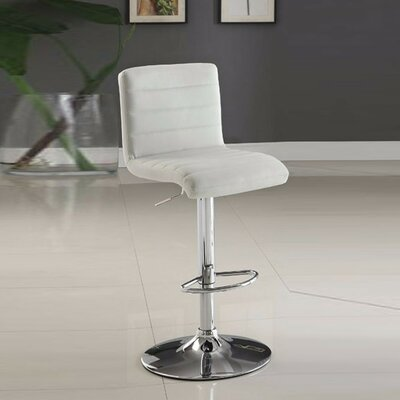 Ashar Armless Adjustable Height Swivel Bar Stool Upholstery: White